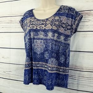 Lucky Brand | Floral Boho Print Top Ruched Shoulde